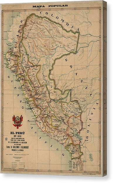 Peruvian Canvas Print - Antique Maps - Old Cartographic Maps - Antique Map Of Peru, South America, 1913 by Studio Grafiikka