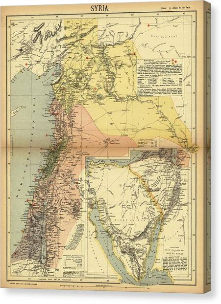 Syrian Canvas Print - Antique Maps - Old Cartographic Maps - Antique Map Of Syria, 1884 by Studio Grafiikka