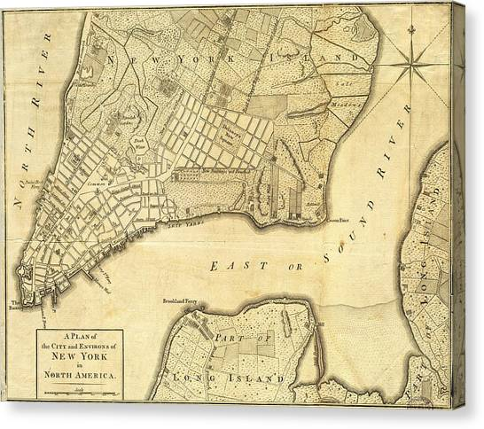 Antique Maps - Old Cartographic Maps - City Of New York And Its Environs Canvas Print