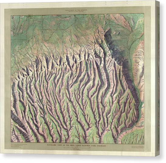 Verde Canvas Print - Antique Maps - Old Cartographic Maps - Relief Map Of Mesa Verde National Park, Colorado by Studio Grafiikka