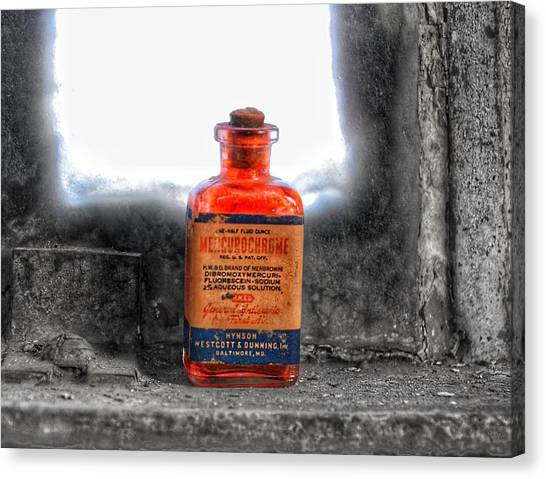 Antique Mercurochrome Hynson Westcott And Dunning Inc. Medicine Bottle - Maryland Glass Corporation Canvas Print