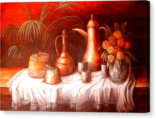 Antique Moroccan Pots Still Life Canvas Print