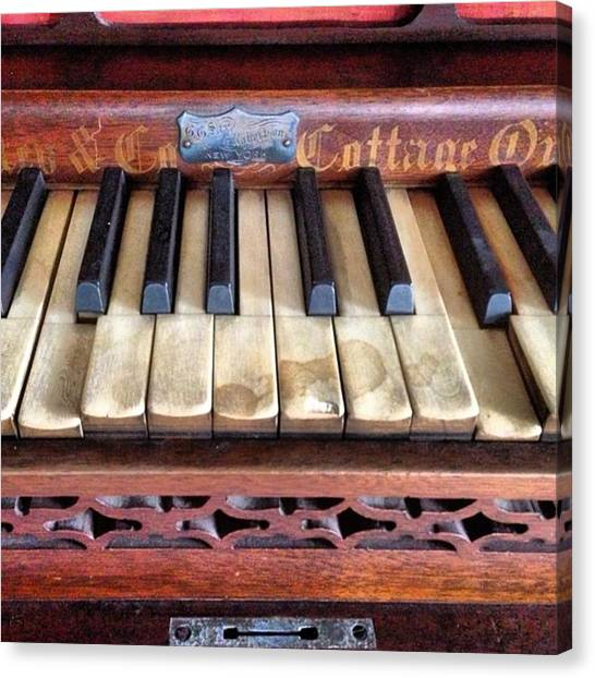 Ivory Canvas Print - #antique #piano #blackkeys #ivory by Alicia Boal