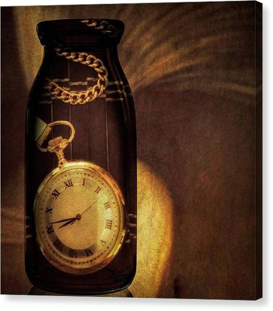 Clock Canvas Print - Antique Pocket Watch In A Bottle by Susan Candelario