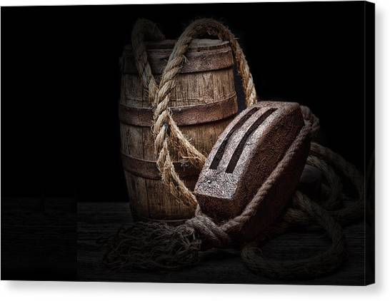 Keg Canvas Print - Antique Pulley And Barrel by Tom Mc Nemar