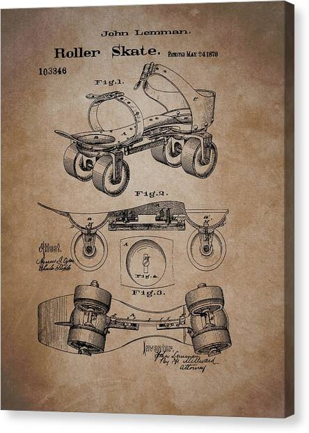 Rollerblading Canvas Print - Antique Roller Skates Patent by Dan Sproul