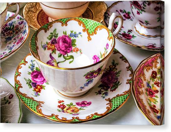 Tea Time Canvas Print - Antique Tea Cups by Garry Gay