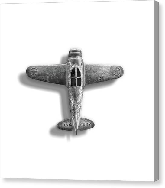 Toy Airplanes Canvas Print - Antique Toy Airplane Floating On White In Black And White by YoPedro