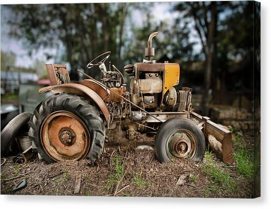 Bulldozers Canvas Print - Antique Tractor by Yo Pedro