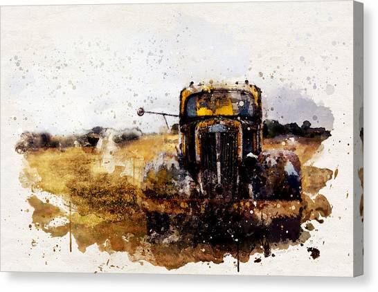 Rusty Truck Canvas Print - Antique Truck Watercolor by SharaLee Art