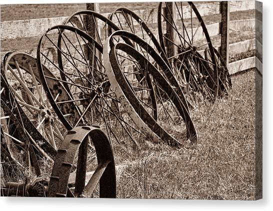Antique Wagon Wheels II Canvas Print