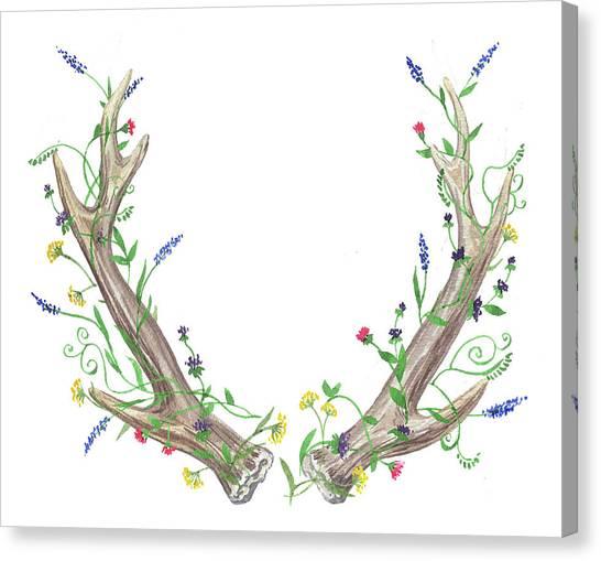 Wedding Bouquet Canvas Print - Antlers And Wild Flowers Watercolor by Irina Sztukowski