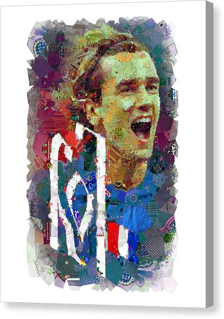 Atletico Madrid Canvas Print - Antoine Griezman For France by Slaway Tok