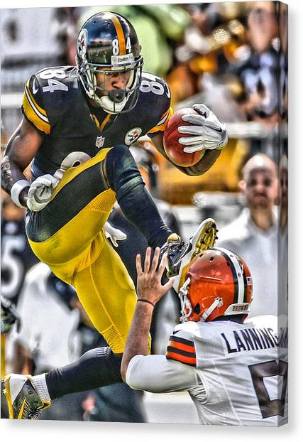 Nfl Canvas Print - Antonio Brown Steelers Art 5 by Joe Hamilton