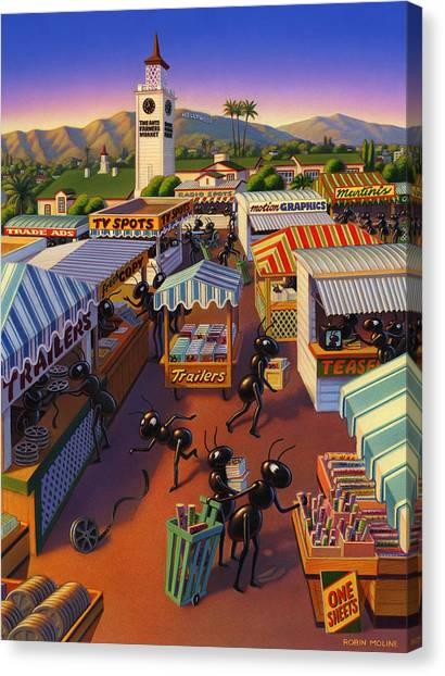 Farmers Market Canvas Print - Ants At The Hollywood Farmers Market by Robin Moline