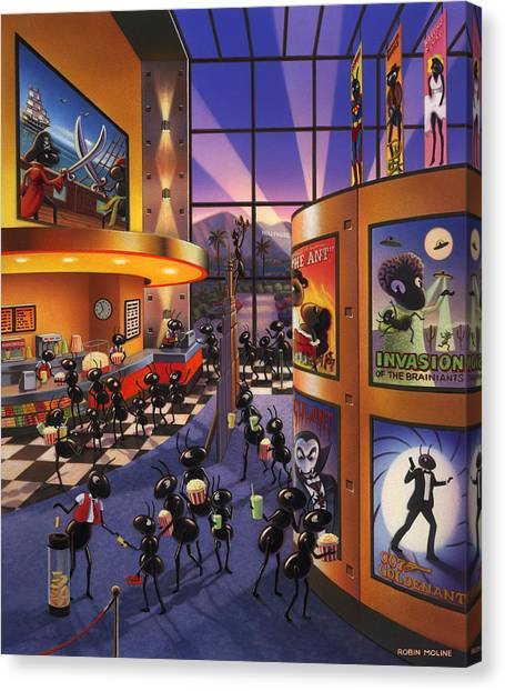 Popcorn Canvas Print - Ants At The Movie Theatre by Robin Moline