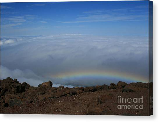 Anuenue - Rainbow At The Ahinahina Ahu Haleakala Sunrise Maui Hawaii Canvas Print