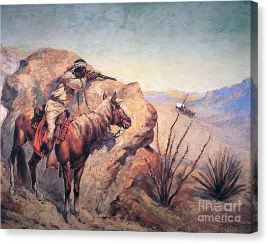 Arid Canvas Print - Apache Ambush by Frederic Remington