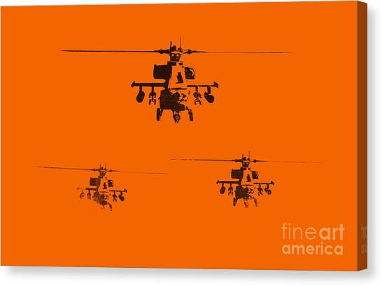 Helicopters Canvas Print - Apache Dawn by Pixel  Chimp