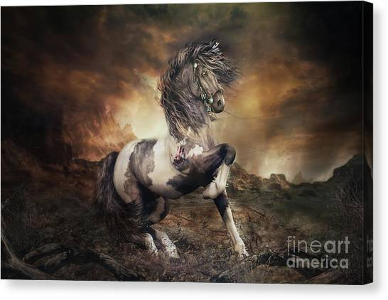 War Horse Canvas Print - Apache War Horse Landscape by Shanina Conway