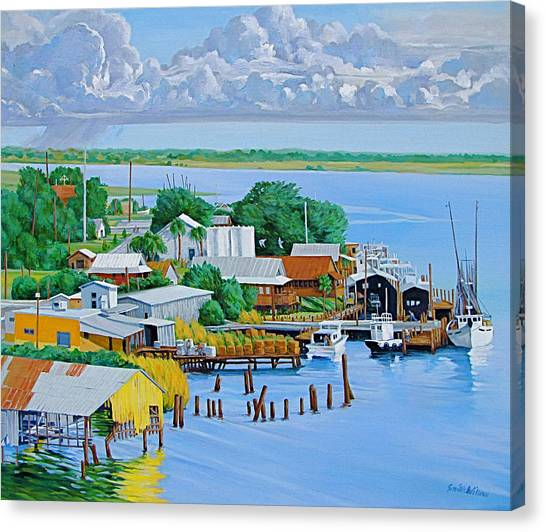 Apalachicola Waterfront Canvas Print by Neal Smith-Willow