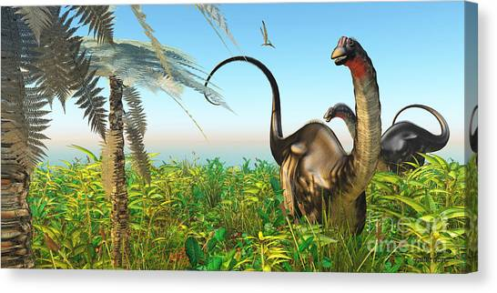 Brontosaurus Canvas Print - Apatosaurus Dinosaur Garden by Corey Ford