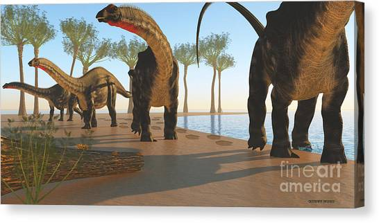 Brontosaurus Canvas Print - Apatosaurus Dinosaur Shore by Corey Ford