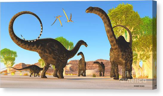 Brontosaurus Canvas Print - Apatosaurus Forest by Corey Ford