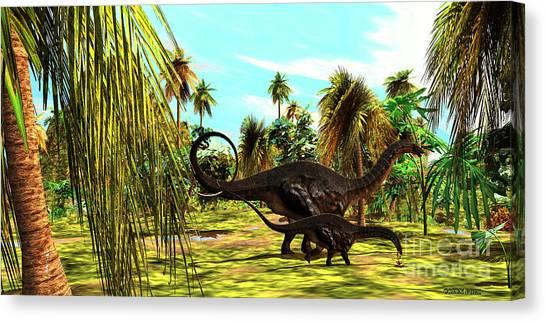 Brontosaurus Canvas Print - Apatosaurus Jungle by Corey Ford