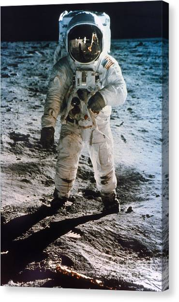 Moon Canvas Print - Apollo 11 Buzz Aldrin by Granger