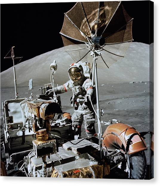 1972 Canvas Print - Apollo 17 Astronaut Approaches by Stocktrek Images