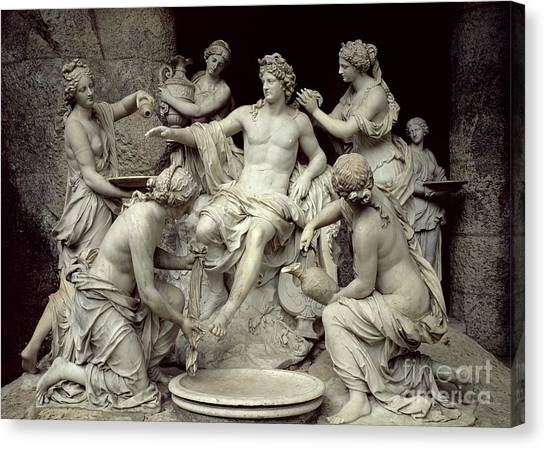 Wreath Canvas Print - Apollo Tended By The Nymphs, Intended For The Grotto Of Thetis by Francois Girardon