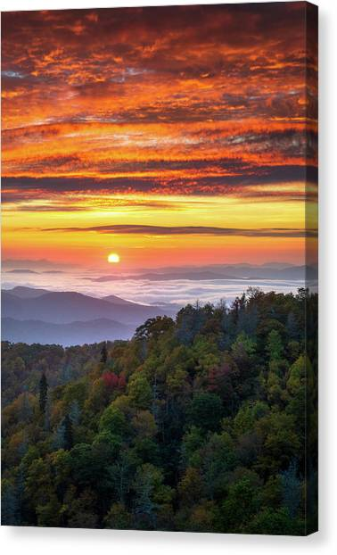 Blue Ridge Parkway Canvas Print - Appalachian Mountains Asheville North Carolina Blue Ridge Parkway Nc Scenic Landscape by Dave Allen