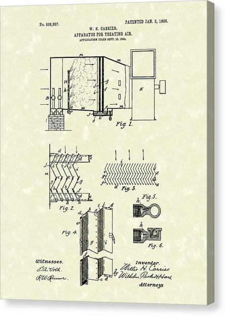 Canvas Print featuring the drawing Apparatus For Treating Air 1906 Carrier Patent Art by Prior Art Design