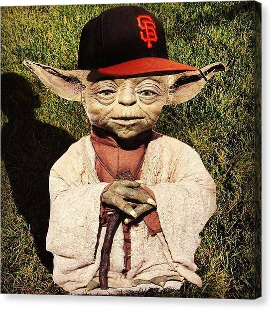 San Francisco Giants Canvas Print - Yoda by Deanna Cann