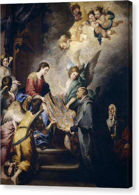 Apparition Canvas Print - Apparition Of The Virgin To Saint Ildefonso  by Bartolome Esteban Murillo