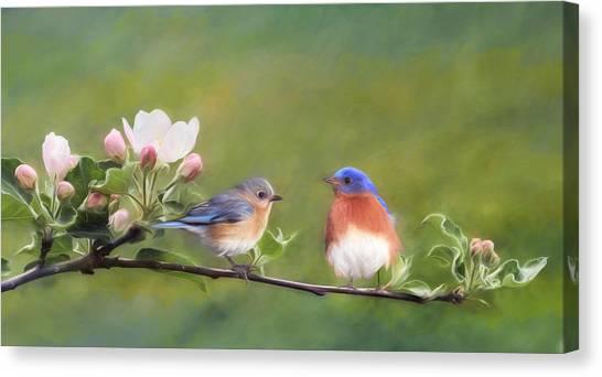 Bluebirds Canvas Print - Apple Blossoms And Bluebirds by Lori Deiter