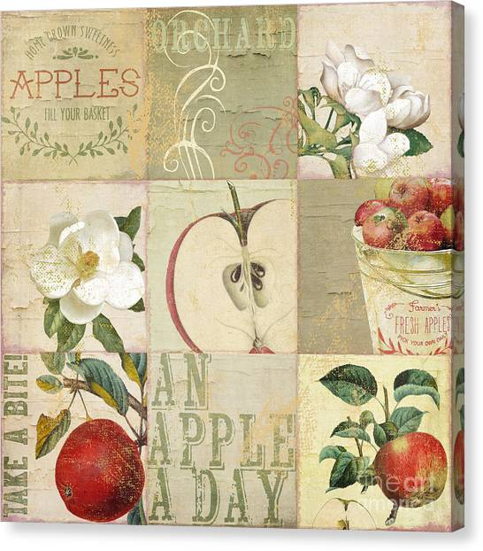 Peel Canvas Print - Apple Blossoms Patchwork I by Mindy Sommers
