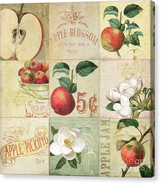 Peel Canvas Print - Apple Blossoms Patchwork II by Mindy Sommers