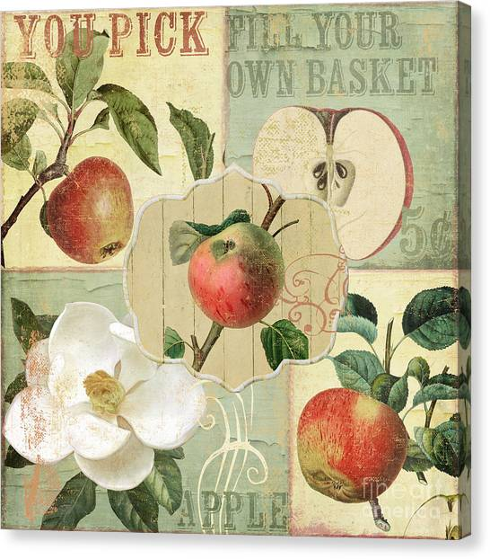 Peel Canvas Print - Apple Blossoms Patchwork IIi by Mindy Sommers