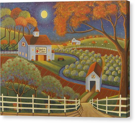 Cider Canvas Print - Apple Cider Hill by Mary Charles