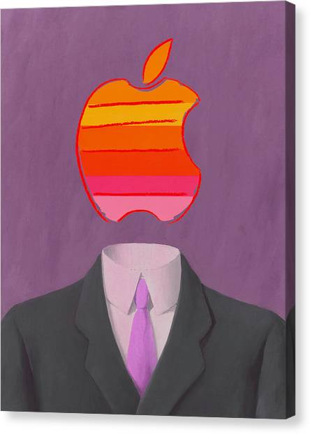 Andy Warhol Canvas Print - Apple-man-2 by Rene Magritte and Andy Warhol