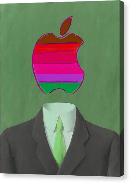 Andy Warhol Canvas Print - Apple-man-3 by Rene Magritte and Andy Warhol