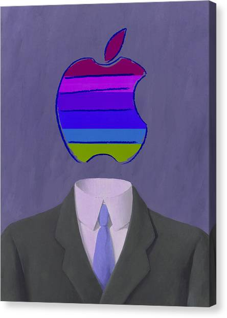 Andy Warhol Canvas Print - Apple-man-4 by Rene Magritte and Andy Warhol