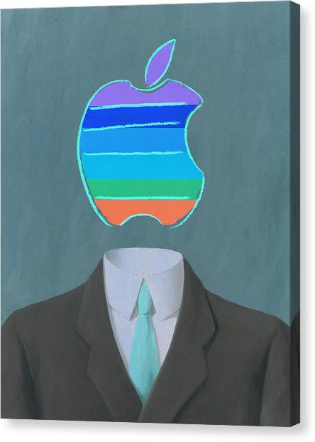 Andy Warhol Canvas Print - Apple-man-5 by Rene Magritte and Andy Warhol