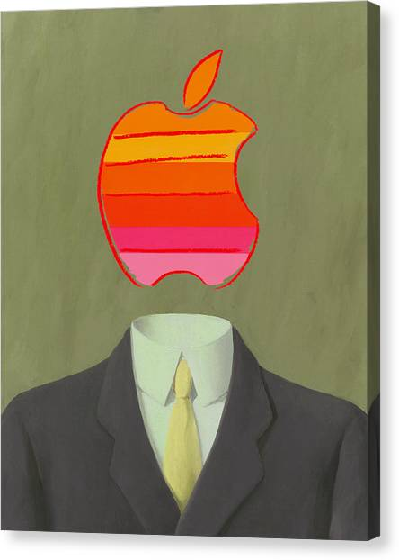 Andy Warhol Canvas Print - Apple-man-6 by Rene Magritte and Andy Warhol