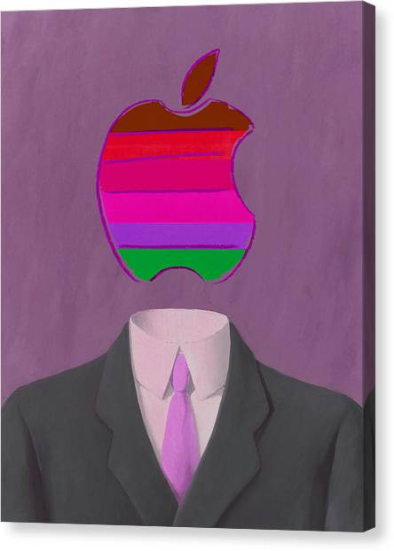 Andy Warhol Canvas Print - Apple-man-7 by Rene Magritte and Andy Warhol