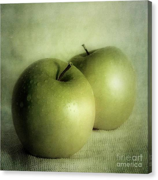 Green Canvas Print - Apple Painting by Priska Wettstein