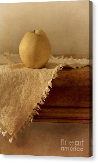 Still Life Canvas Print - Apple Pear On A Table by Priska Wettstein
