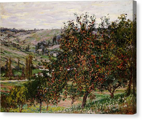 Fruit Trees Canvas Print - Apple Trees Near Vetheuil by Claude Monet